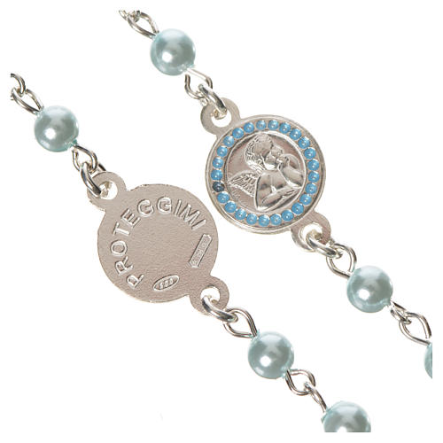 Rosario argento 800 perle azzurre angelo custode 3