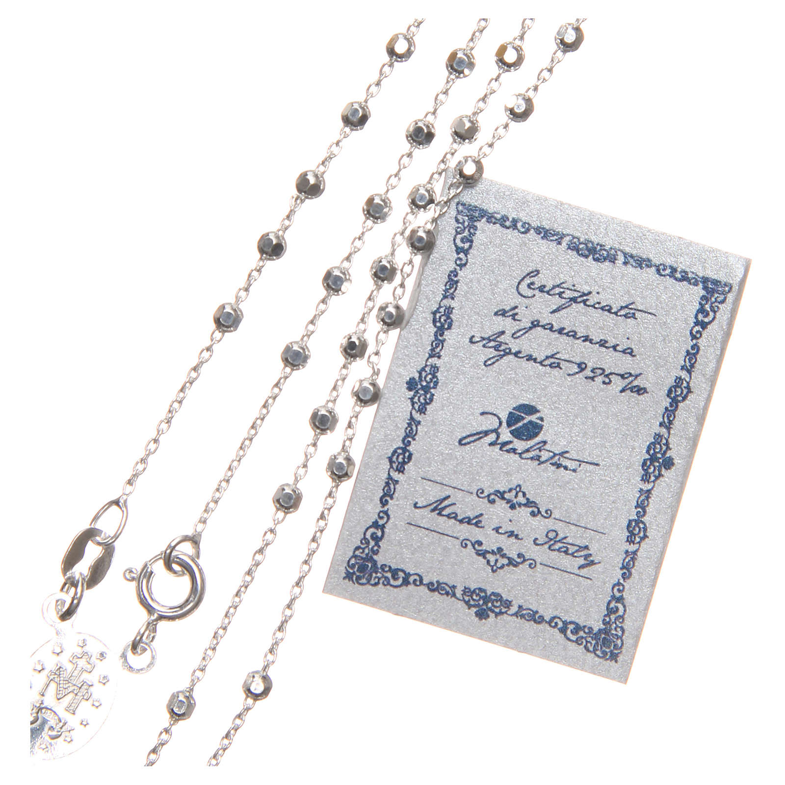 Rosary beads in sterling silver with grains of 3 mm 4