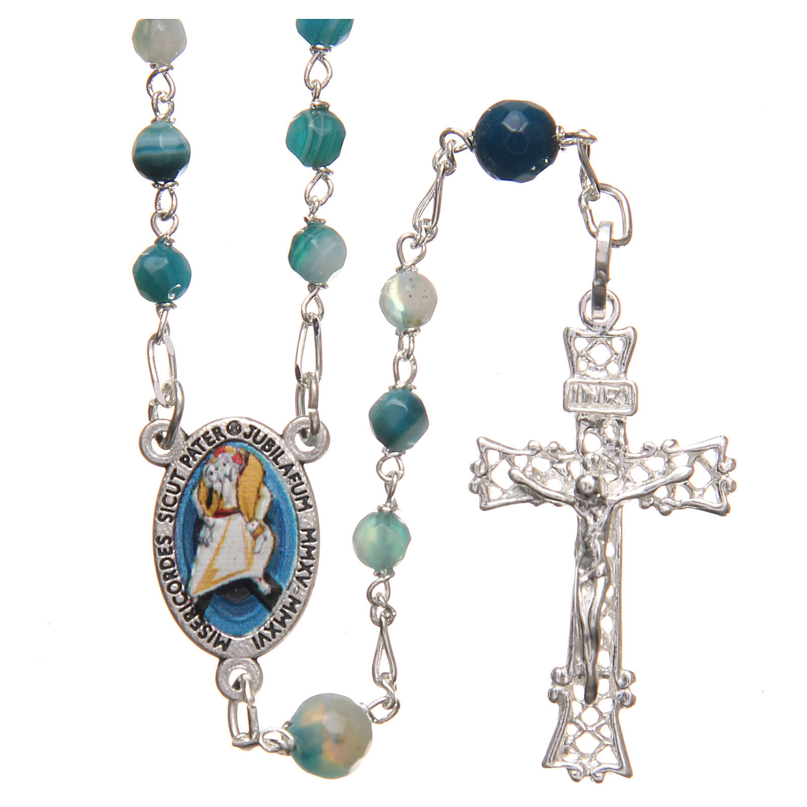 STOCK Rosary beads in Brazilian agate and sterling silver with Pope Francis 4mm light blue 4