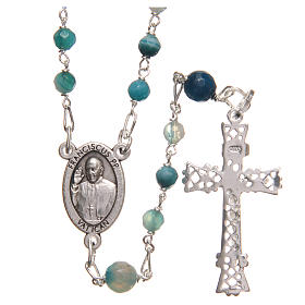 STOCK Rosary beads in Brazilian agate and sterling silver with Pope Francis 4mm light blue s2