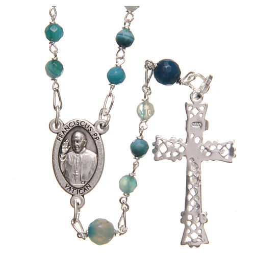 STOCK Rosary beads in Brazilian agate and sterling silver with Pope Francis 4mm light blue 2