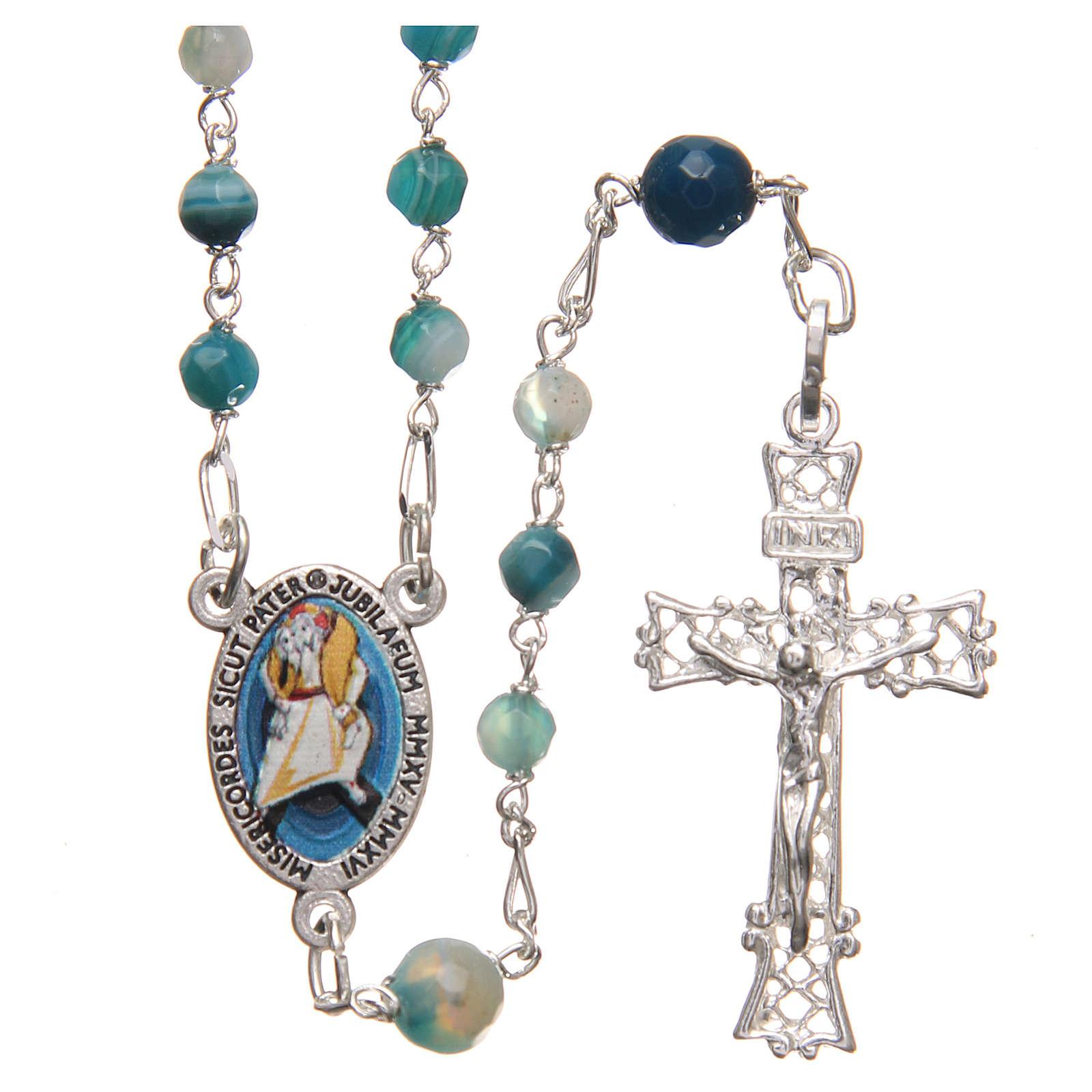 STOCK Rosario ágata brasileña Papa francisco plata 925 4 mm celeste 4