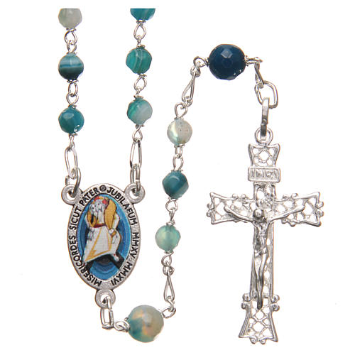 STOCK Rosary beads in Brazilian agate and sterling silver with Pope Francis 4mm light blue 1