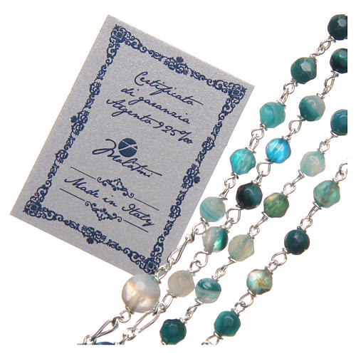 STOCK Rosary beads in Brazilian agate and sterling silver with Pope Francis 4mm light blue 3