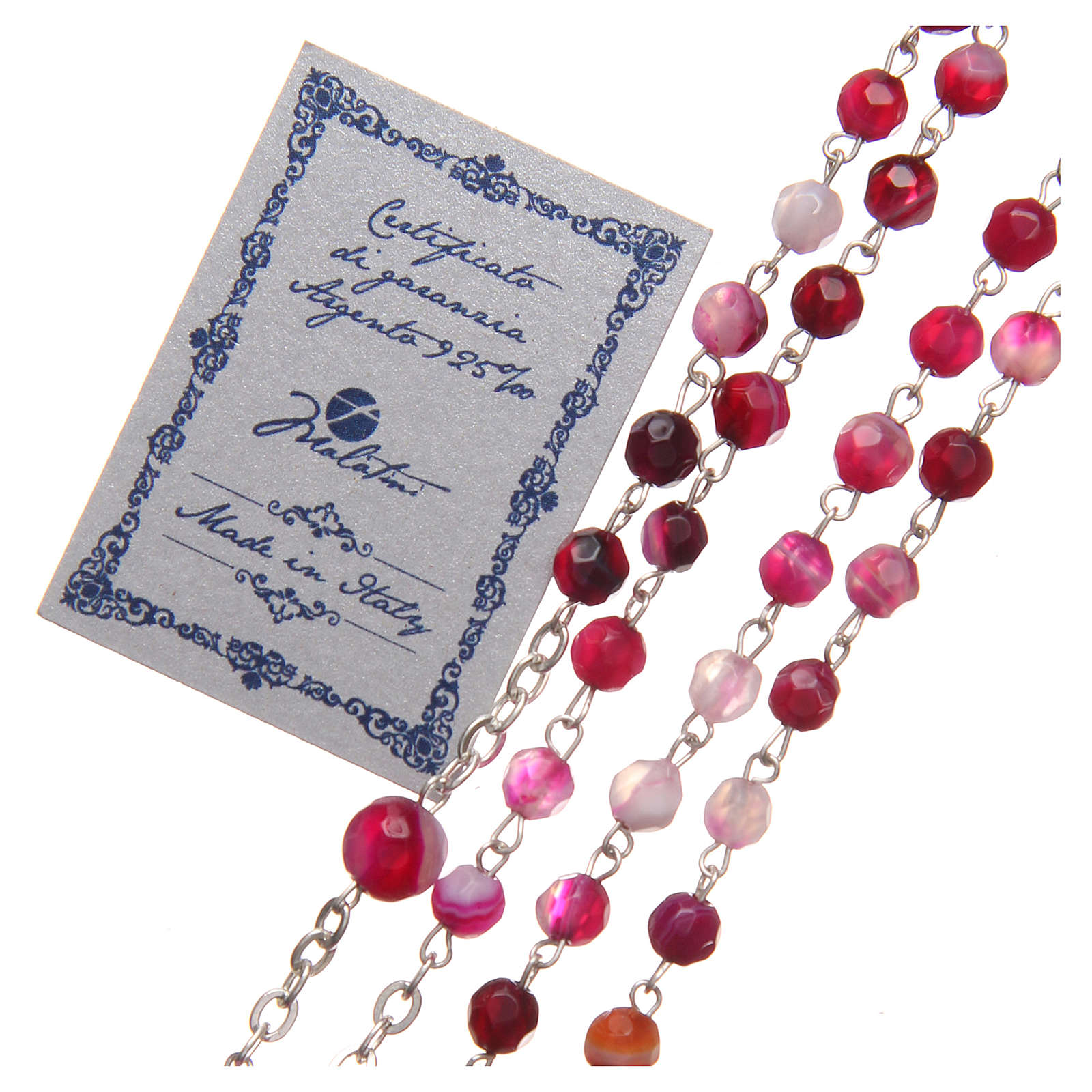 STOCK Rosario agata brasiliana Papa Francesco arg 925 4 mm fucsia 4