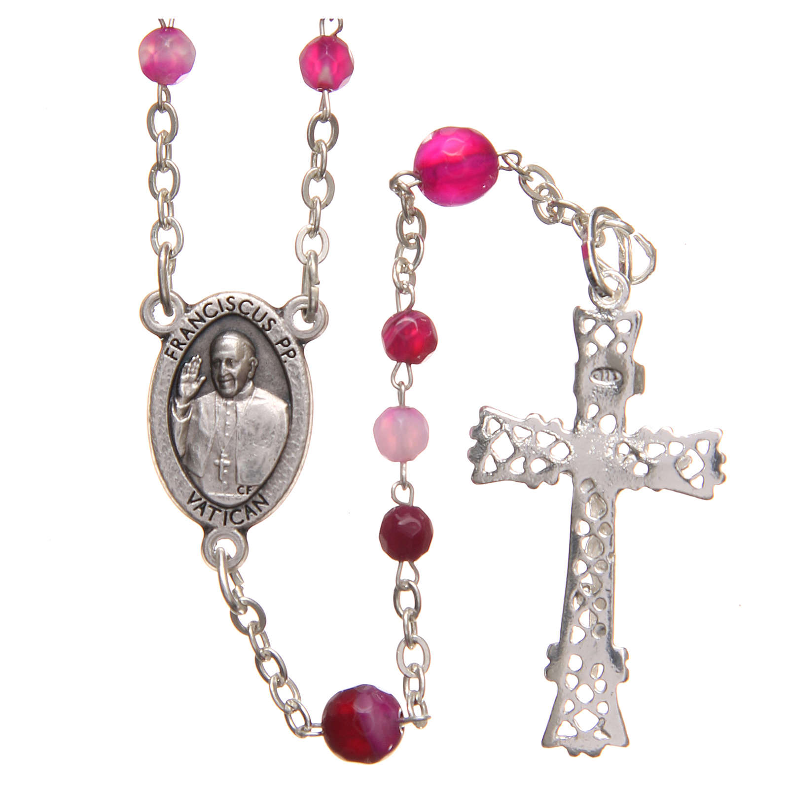 STOCK Rosary beads in Brazilian agate and sterling silver with Pope Francis 4mm fuchsia 4