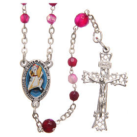 STOCK Rosary beads in Brazilian agate and sterling silver with Pope Francis 4mm fuchsia s1