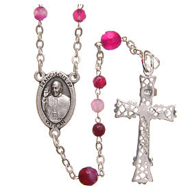 STOCK Rosary beads in Brazilian agate and sterling silver with Pope Francis 4mm fuchsia s2