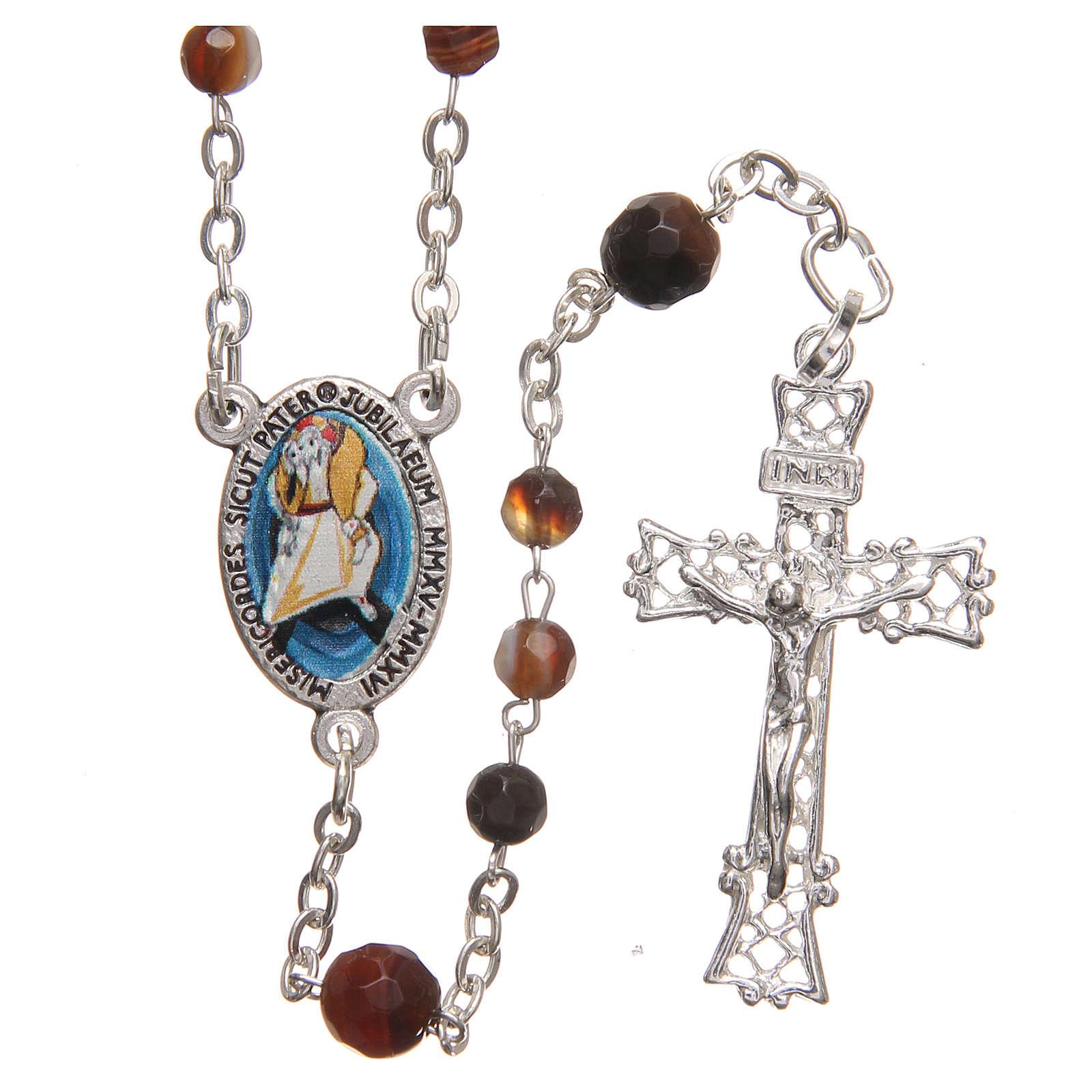STOCK Różaniec Papież Franciszek srebro 925 agat brazylijski 4 mm brązowy 4