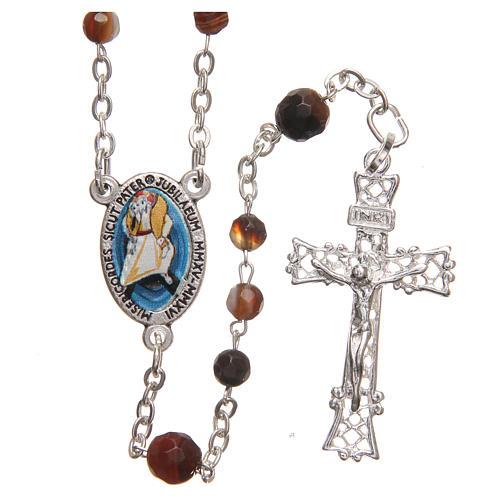 STOCK Różaniec Papież Franciszek srebro 925 agat brazylijski 4 mm brązowy 1