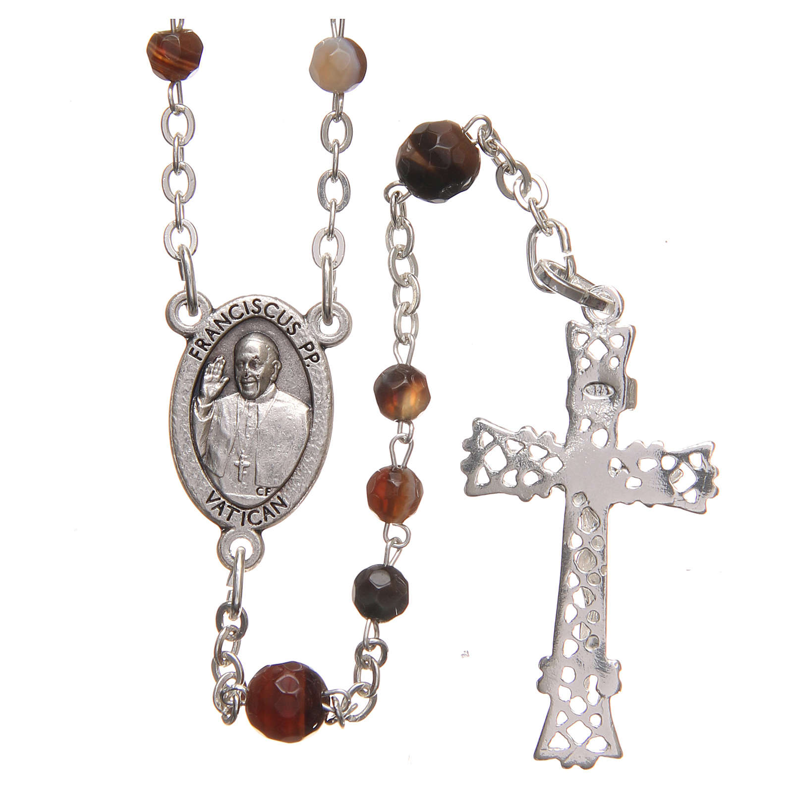 STOCK Rosary beads in Brazilian agate and sterling silver with Pope Francis 4mm brown 4