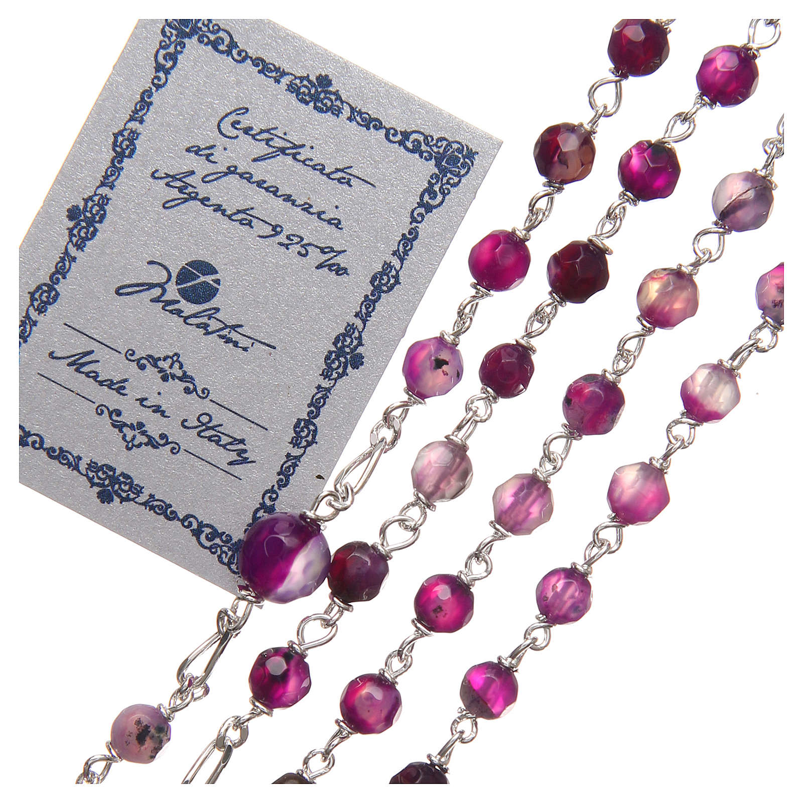 STOCK Rosary beads in Brazilian agate and sterling silver with Pope Francis 4mm purple 4