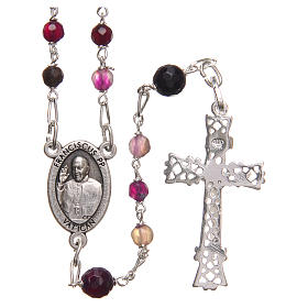 STOCK Rosary beads in Brazilian agate and sterling silver with Pope Francis 4mm purple s2