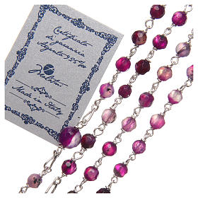STOCK Rosary beads in Brazilian agate and sterling silver with Pope Francis 4mm purple s3