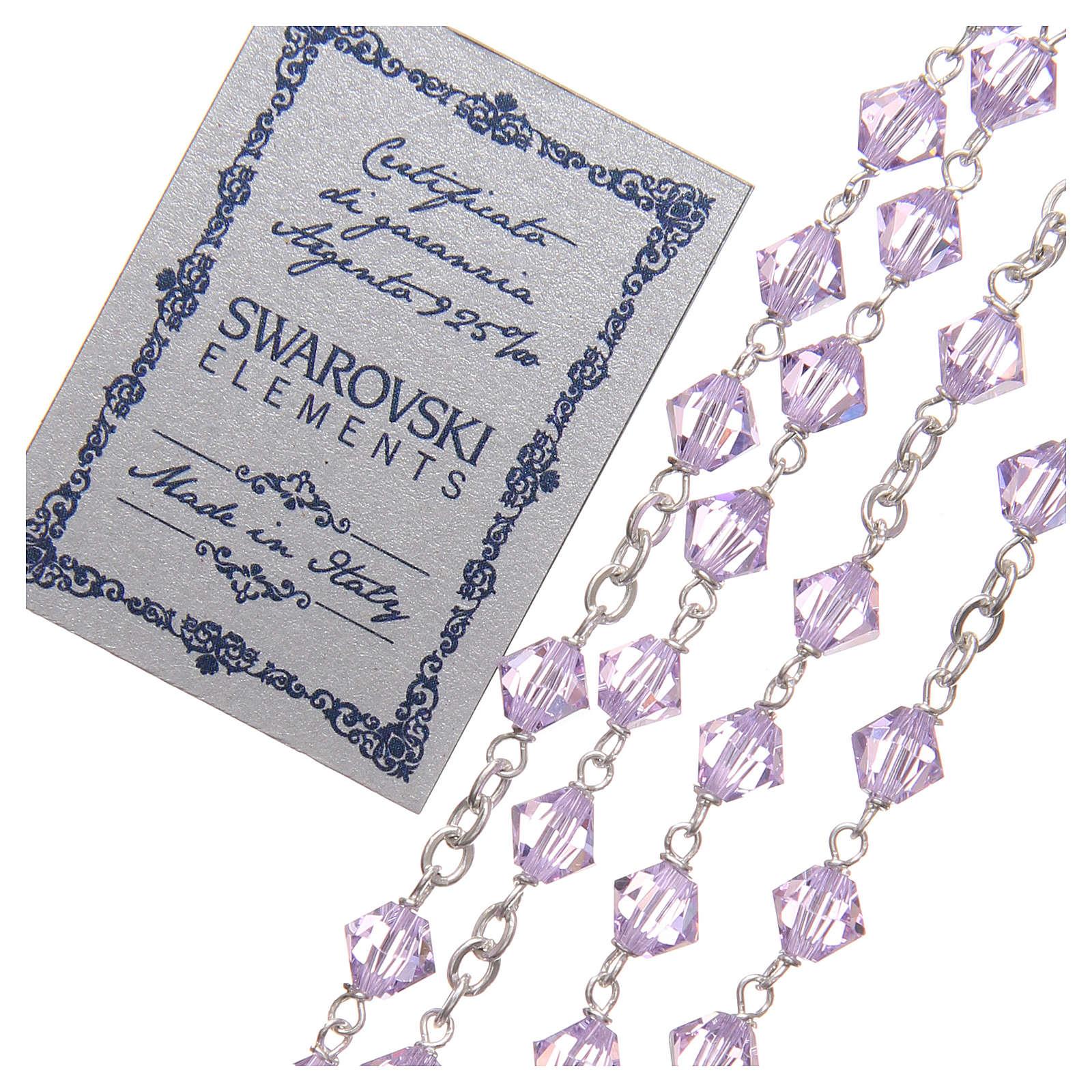 Chapelet argent 925 Swarovski chaîne mailles rondes 6 mm violet 4