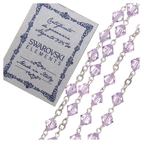 Chapelet argent 925 Swarovski chaîne mailles rondes 6 mm violet 3