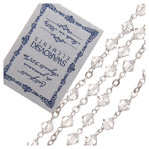 Rosario plata 925 Swarovski trensada 6 mm cristal 3
