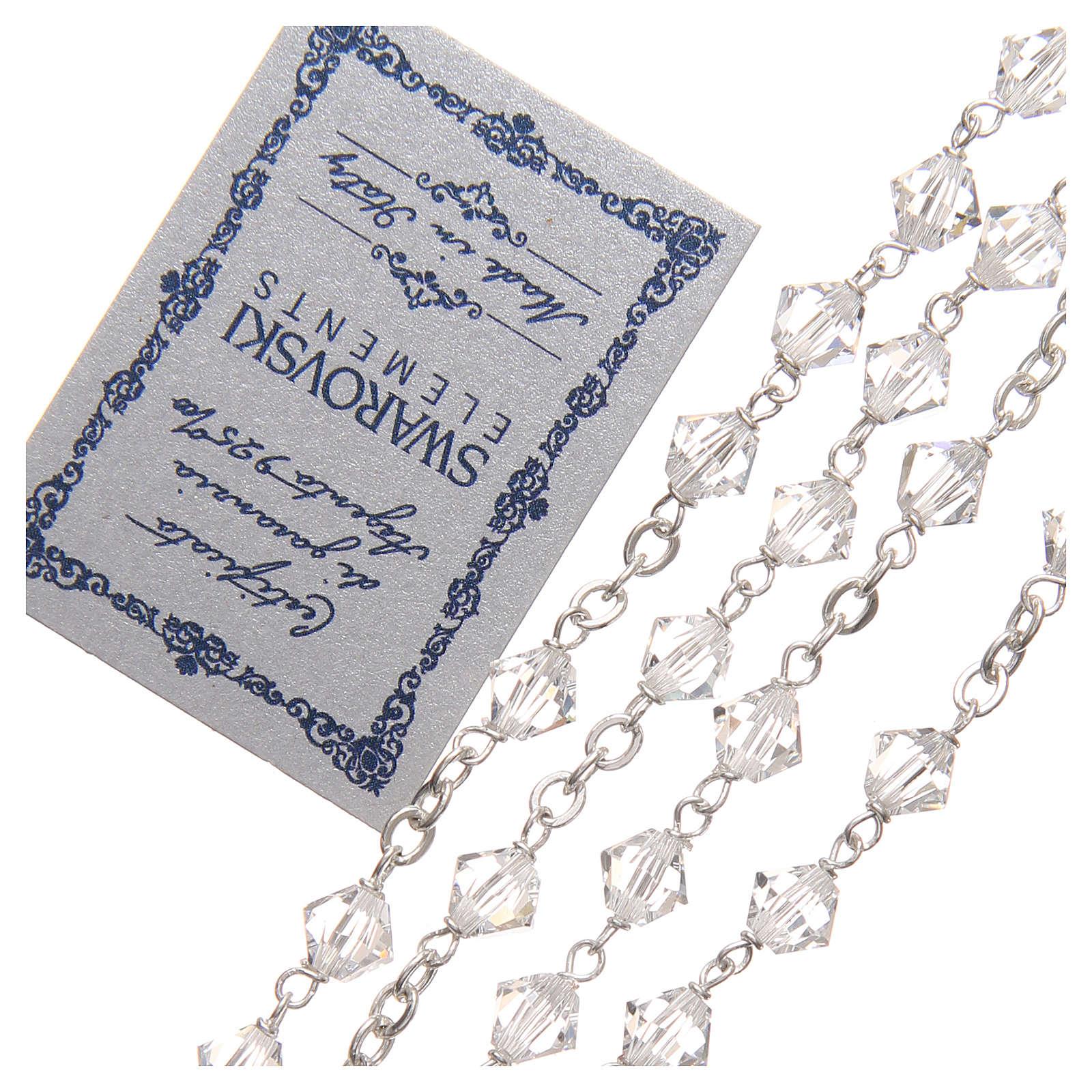 Chapelet argent 925 Swarovski chaîne mailles rondes 6 mm cristal 4