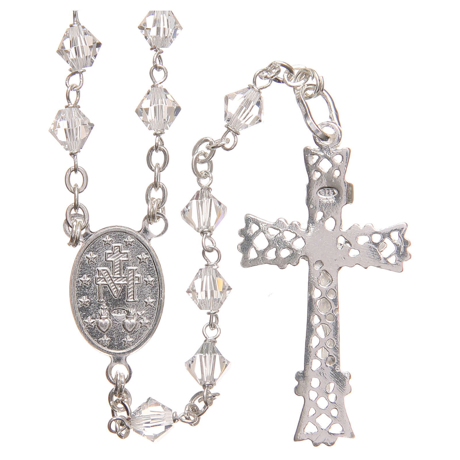 Rosary beads in Swarovski and sterling silver 6mm clear 4