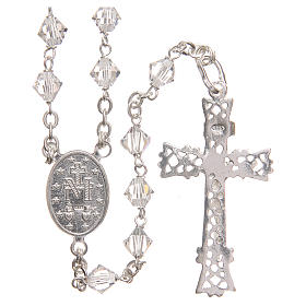 Rosary beads in Swarovski and sterling silver 6mm clear s2