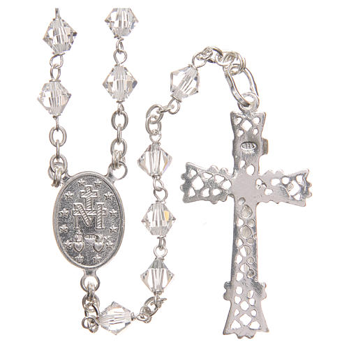 Rosary beads in Swarovski and sterling silver 6mm clear 2