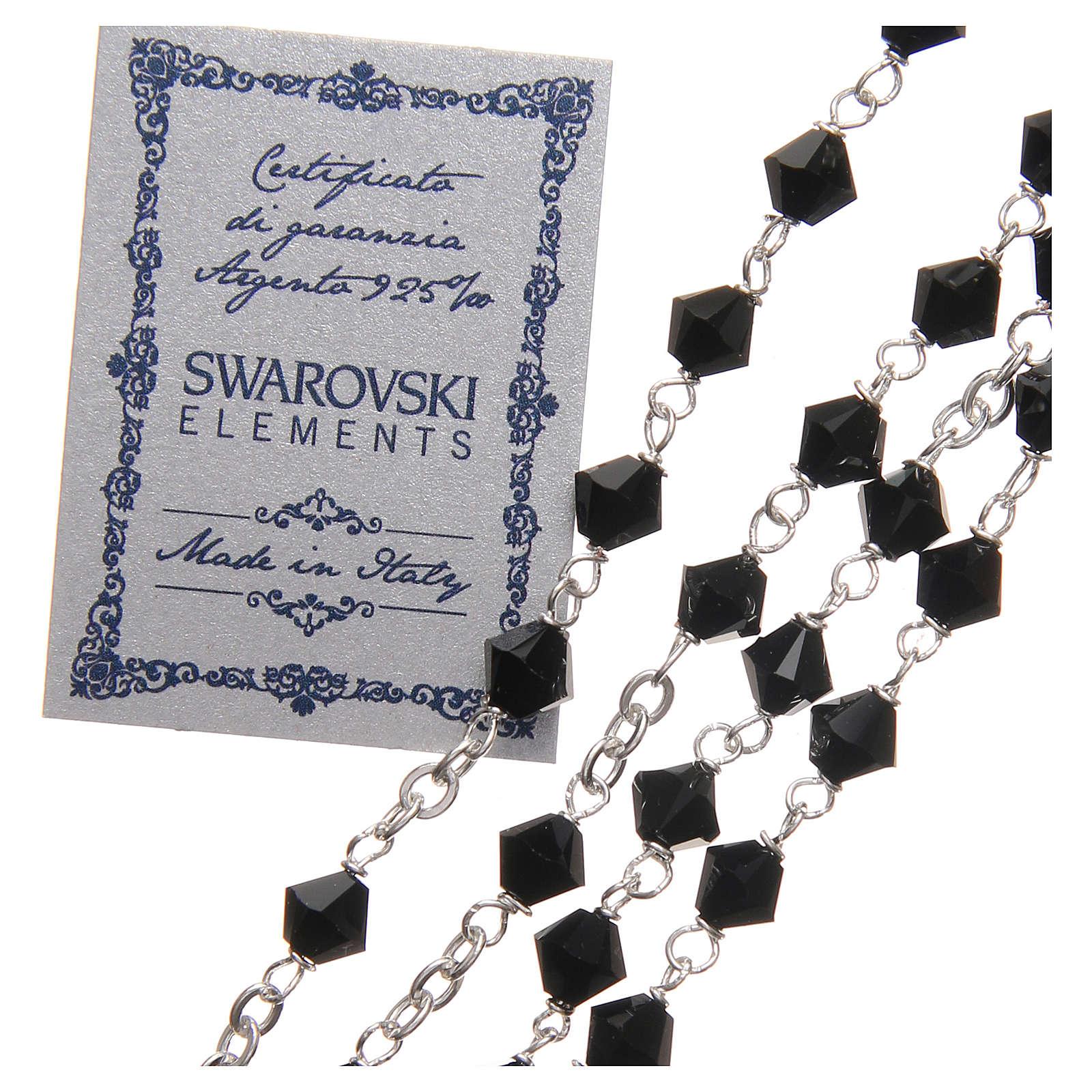 Rosario plata 925 Swarovski trenzada con cuentas de 6 mm negro 4