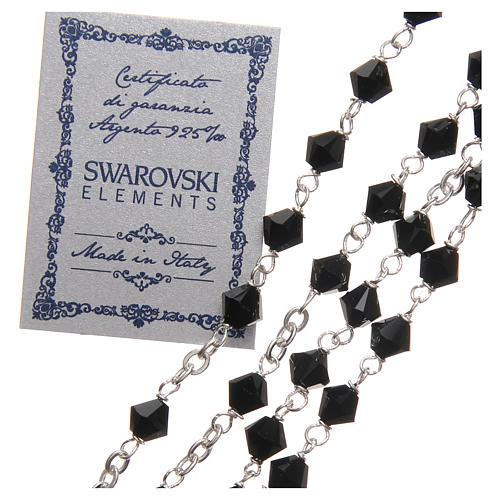 Rosario plata 925 Swarovski trenzada con cuentas de 6 mm negro 3