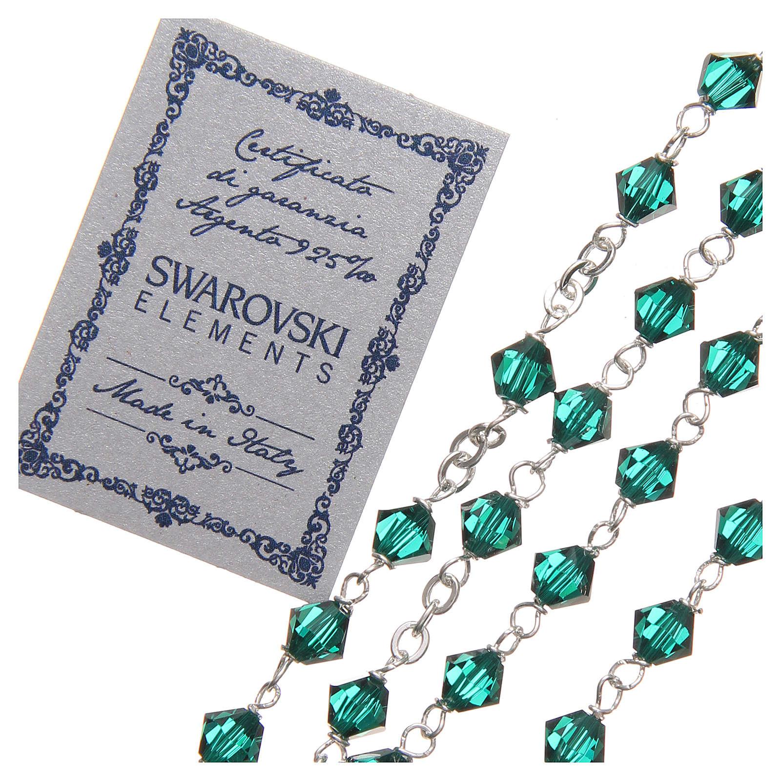 Rosario argento 925 Swarovski legatura girello 6 mm verde 4