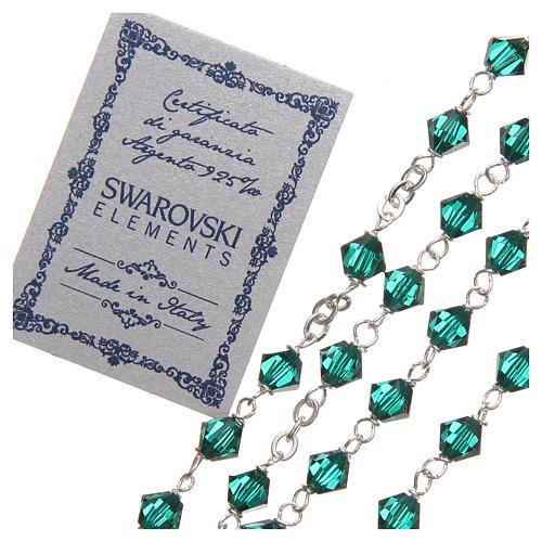 Rosario argento 925 Swarovski legatura girello 6 mm verde 3