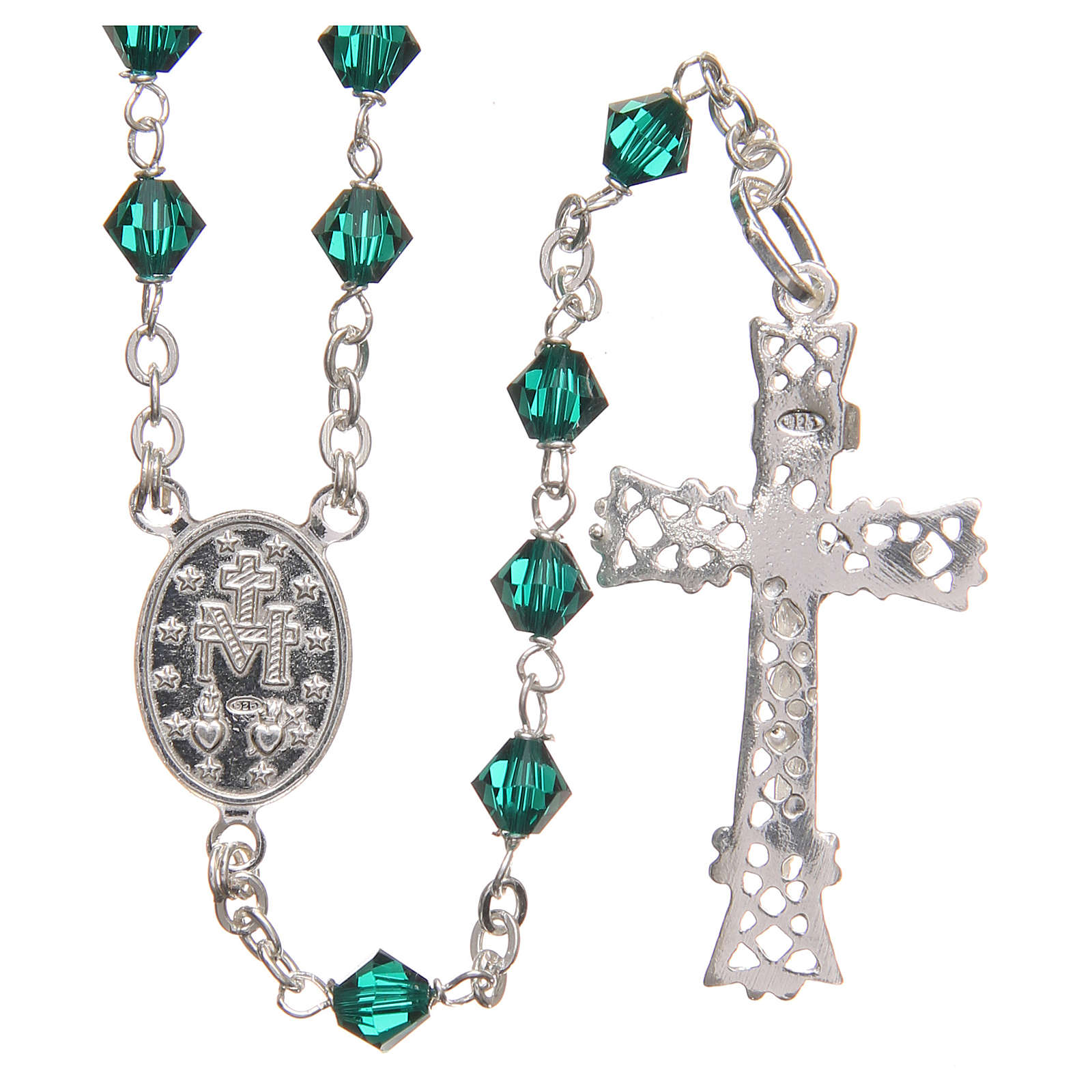 Rosary beads in Swarovski and sterling silver 6mm green 4
