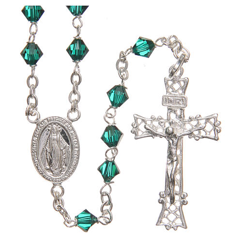 Rosary beads in Swarovski and sterling silver 6mm green 1