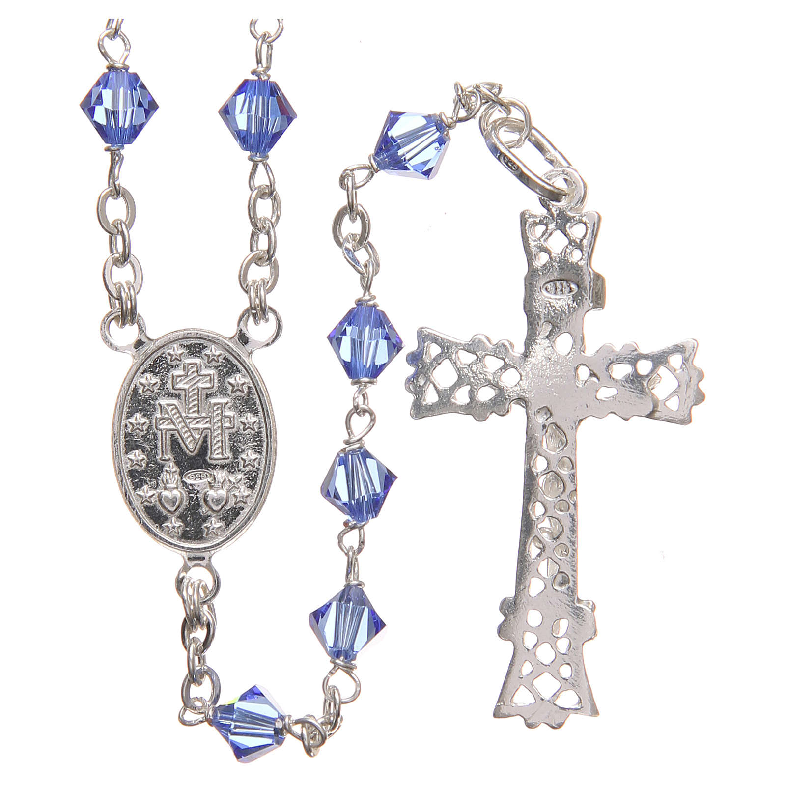 Rosary beads in Swarovski and sterling silver 6mm aquamarine 4