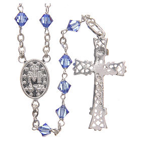 Rosary beads in Swarovski and sterling silver 6mm aquamarine s2