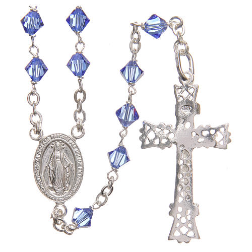 Rosary beads in Swarovski and sterling silver 6mm aquamarine 1