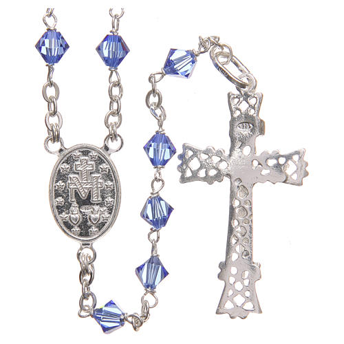 Rosary beads in Swarovski and sterling silver 6mm aquamarine 2