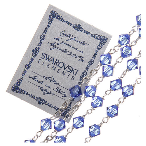 Rosary beads in Swarovski and sterling silver 6mm aquamarine 3