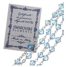 Chapelet argent 925 Swarovski chaîne mailles rondes 6 mm bleu ciel s3