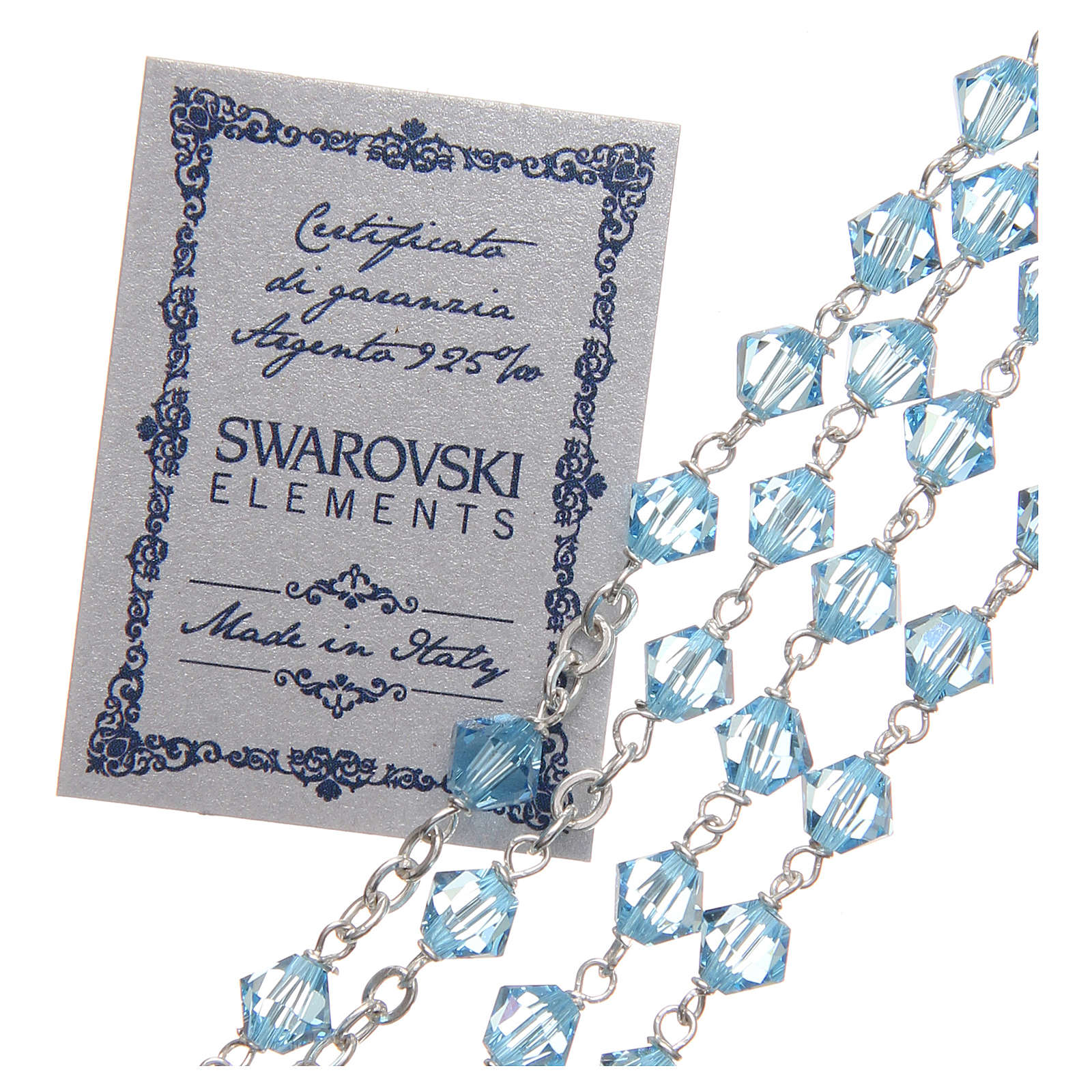 Rosario argento 925 Swarovski legatura girello 6 mm azzurro 4