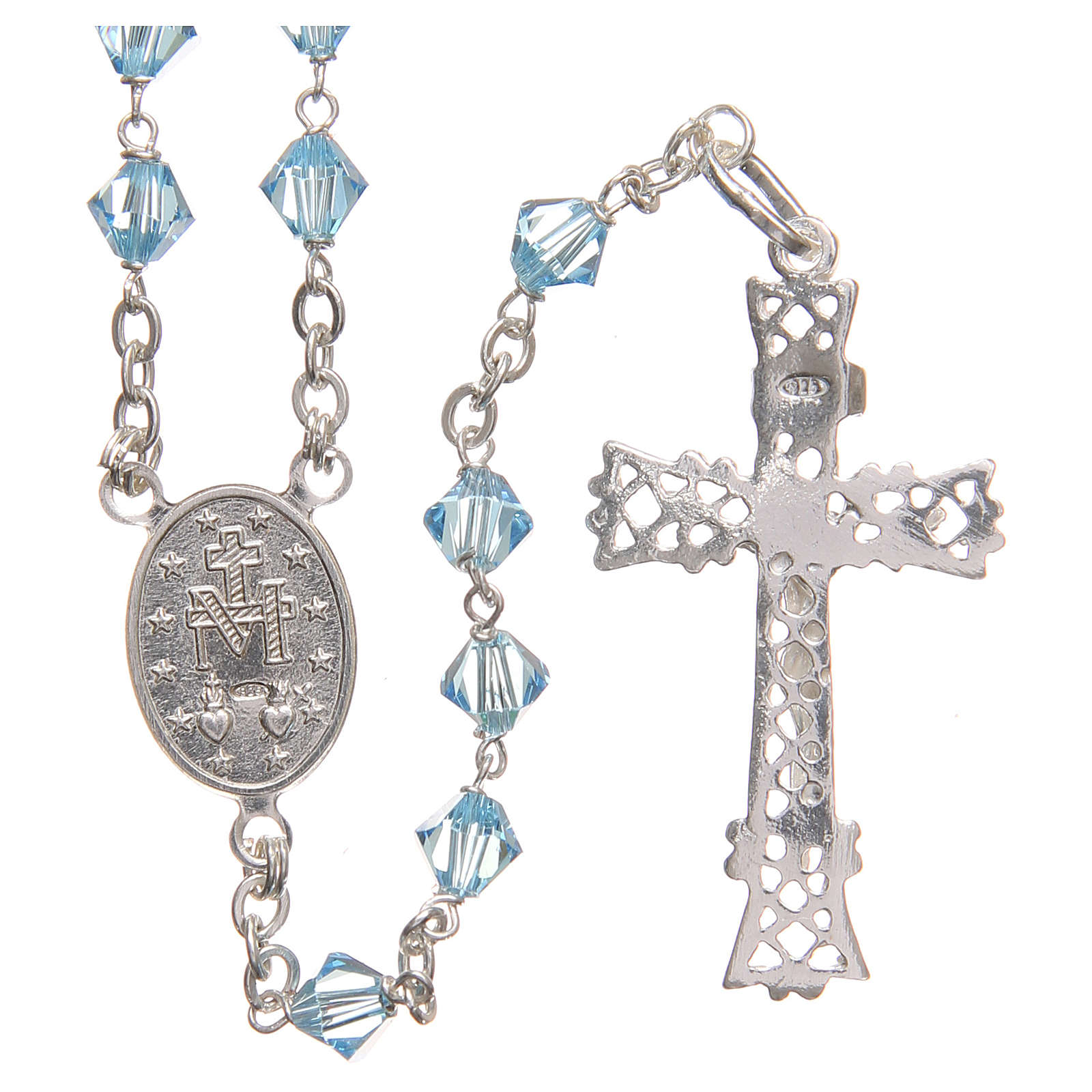 Rosary beads in Swarovski and sterling silver 6mm light blue 4