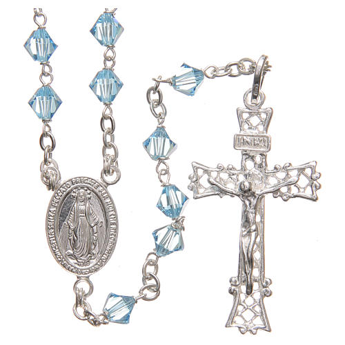 Rosary beads in Swarovski and sterling silver 6mm light blue 1