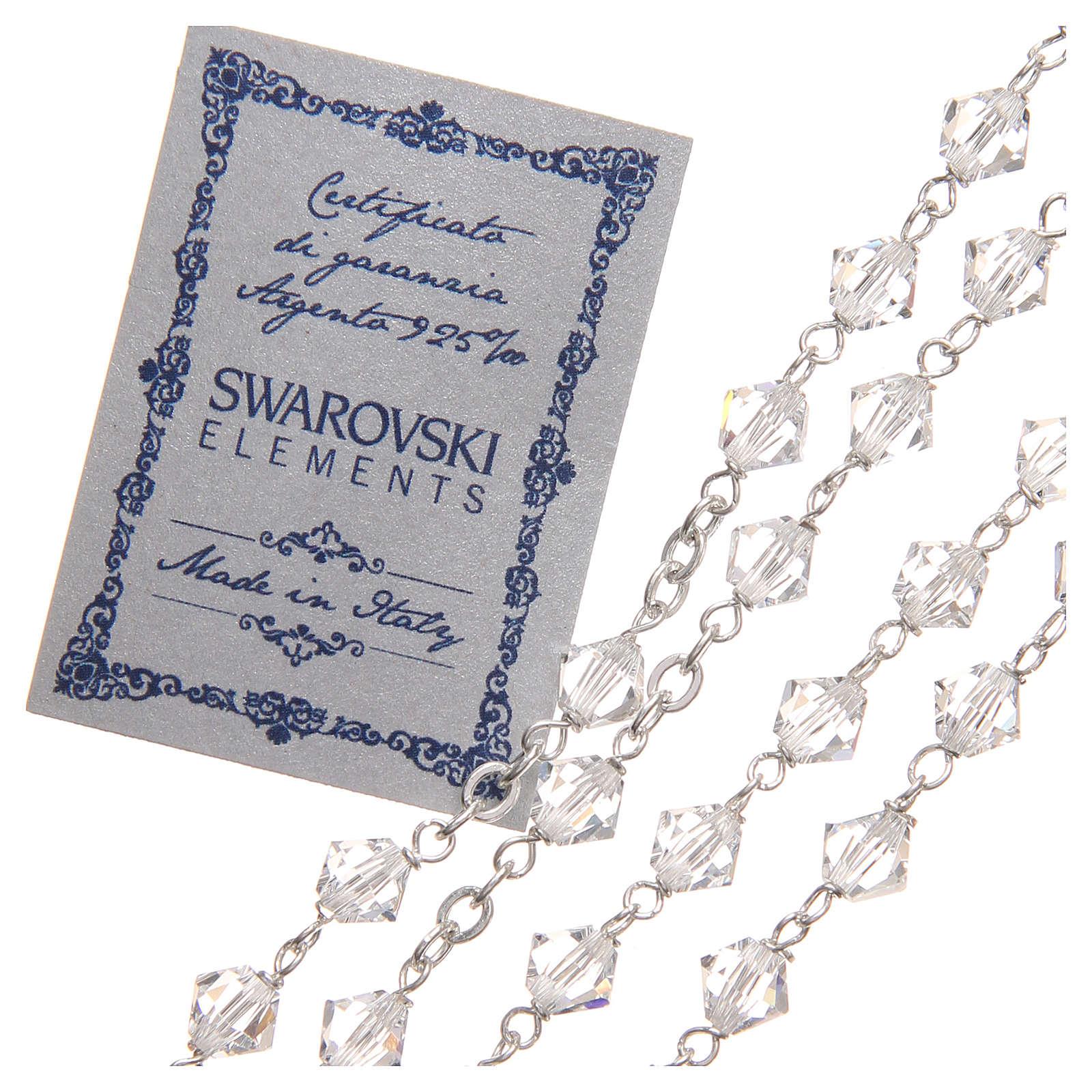 STOCK Rosario argento 925 Swarovski Logo Giubileo 6 mm cristallo 4