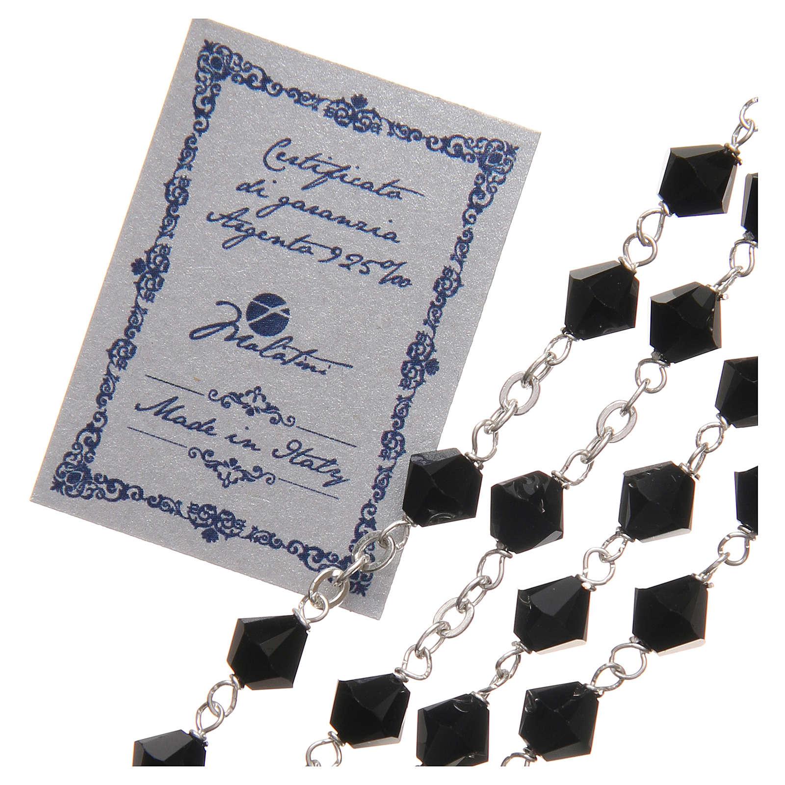 STOCK Rosario argento 925 Swarovski Logo Giubileo 6 mm nero 4