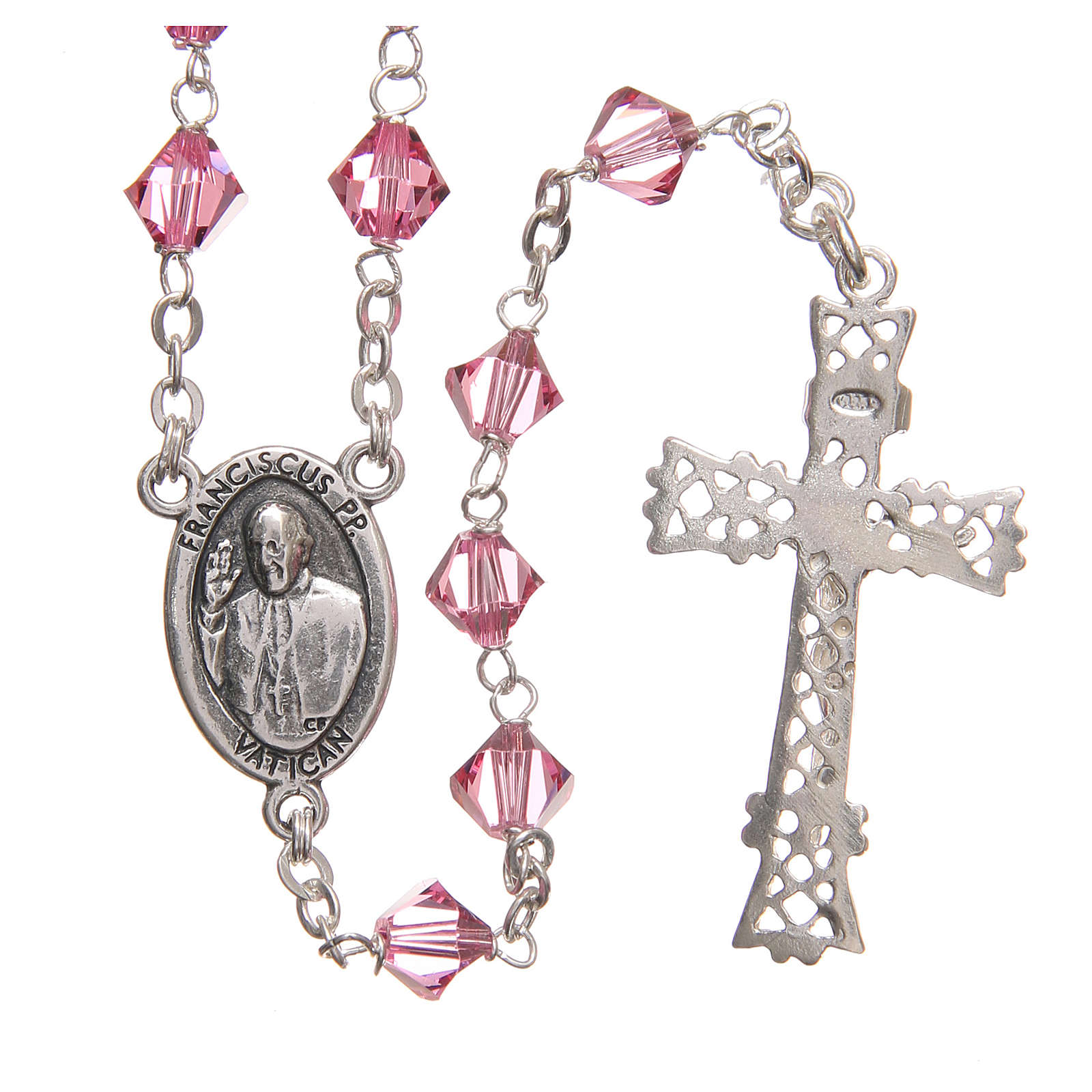 STOCK Rosary beads in Swarovski and sterling silver with Jubilee symbol 6mm pink 4