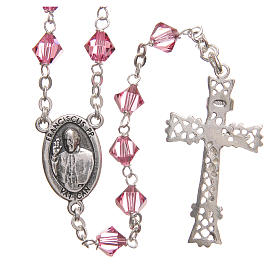STOCK Rosary beads in Swarovski and sterling silver with Jubilee symbol 6mm pink s2