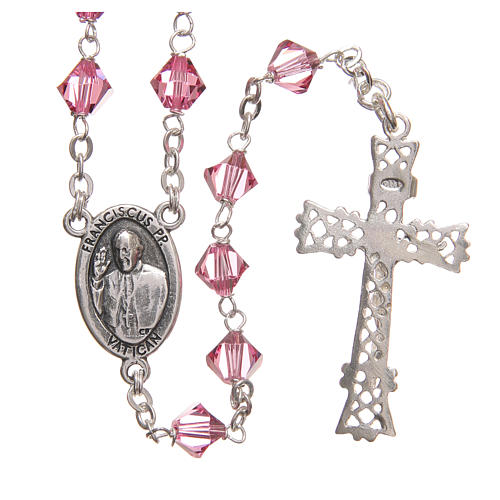 STOCK Rosary beads in Swarovski and sterling silver with Jubilee symbol 6mm pink 2