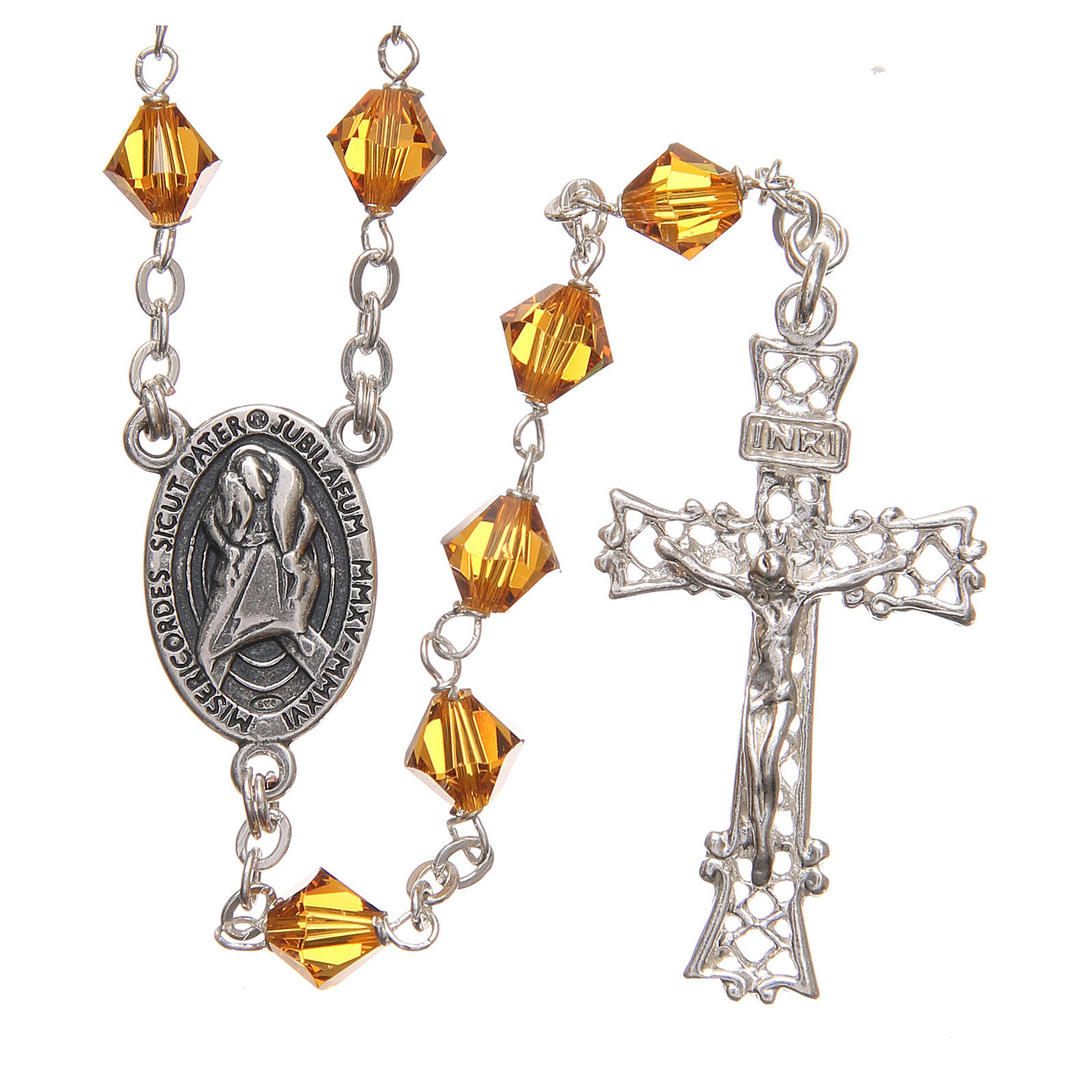 STOCK Rosary beads in Swarovski and sterling silver with Jubilee symbol 6mm amber 4