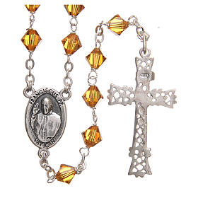 STOCK Rosary beads in Swarovski and sterling silver with Jubilee symbol 6mm amber s2