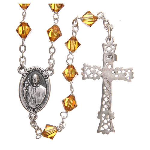 STOCK Rosary beads in Swarovski and sterling silver with Jubilee symbol 6mm amber 2