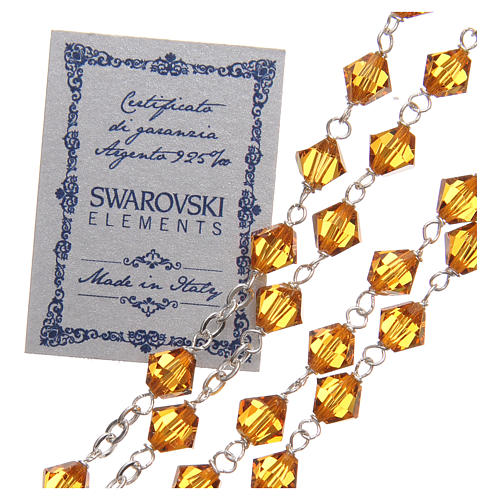 STOCK Rosary beads in Swarovski and sterling silver with Jubilee symbol 6mm amber 3