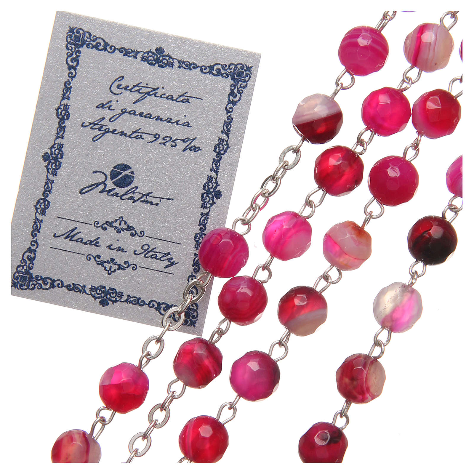 STOCK Rosary beads in Brazilian agate and sterling silver with Jubilee symbol 6mm fuchsia 4